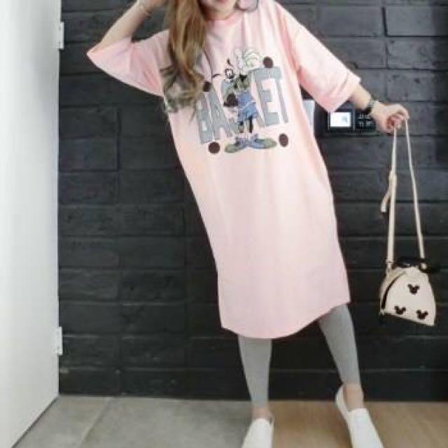 韓國連線購買 全新轉賣 高飛狗長洋裝T 灰色