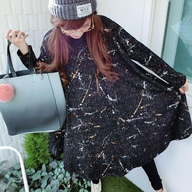 韓國連線購回 跟katze購買 黑色潑墨傘狀洋裝
