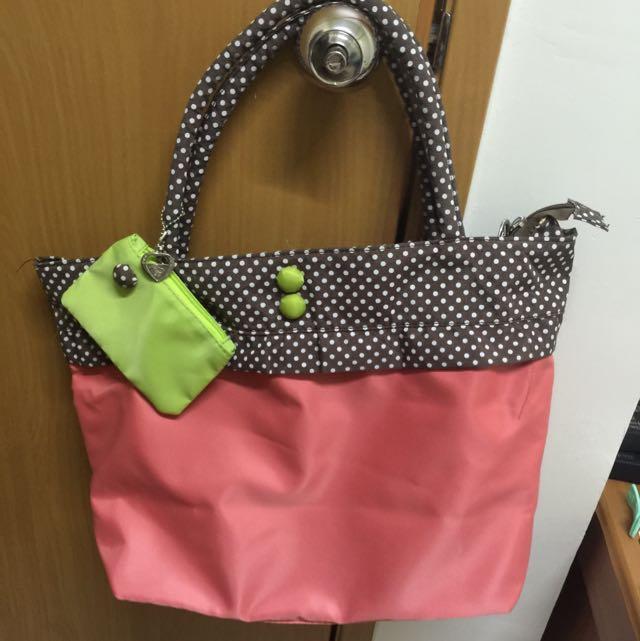 📍PG美人網手提包 側背包 粉紅 點點📍
