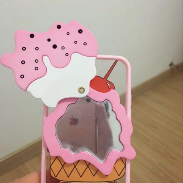 ☆Aly Look☆(現貨)iphone6/6plus炎炎夏日櫻桃可愛冰淇淋鏡子手機殼雪糕保護套軟