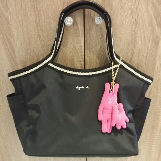 (已售待匯)黑色agnes b. 專櫃正品小b手提包 手提袋