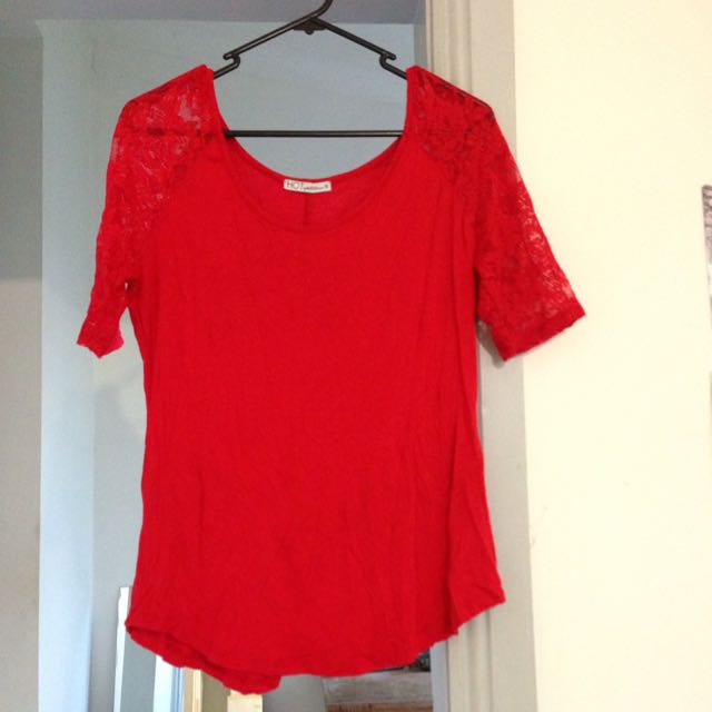 Bright Red Top With lace Sleeves