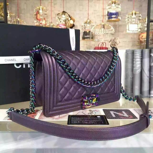 0a41c2ca9d66 CHANEL Purple Goatskin Boy Bag With Rainbow Hardware, Bulletin Board,  Preorders on Carousell