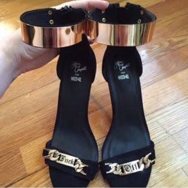 """🚩FREE SHIPPING🎉 Jeffrey Campbell Malice Heel in Black """"F*** Off""""Size 7"""