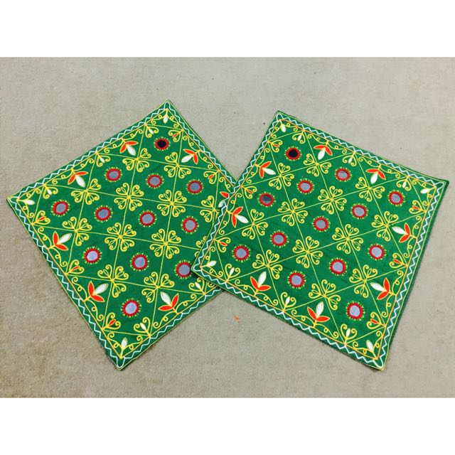 Green Or Red Mirror Work And Thread Work Cushion Covers