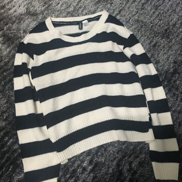 H&M 黑白條紋 毛衣 前短後長