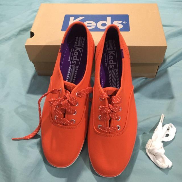 全新keds 石榴紅帆布鞋 7號半