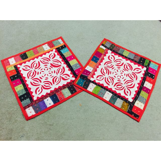 Multi Coloured Patchwork And Cutwork Cushion Covers