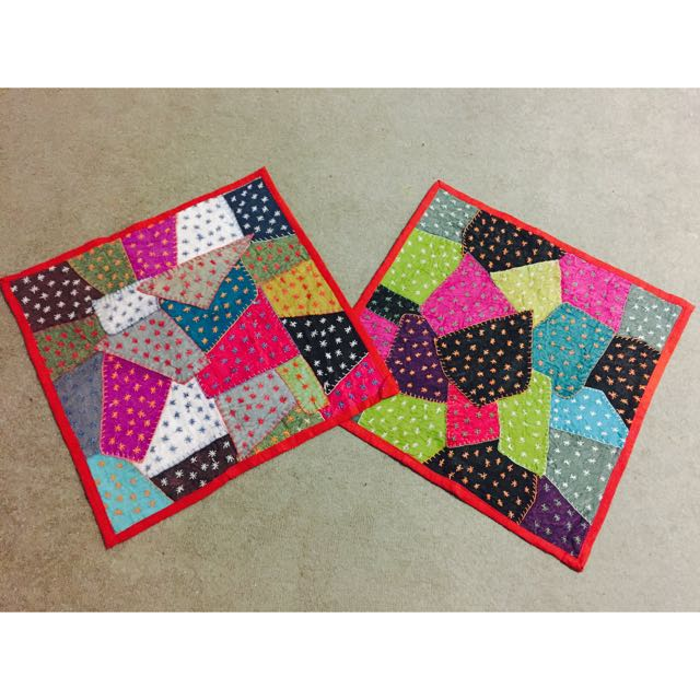 Multi Coloured Patchwork Star Thread Work