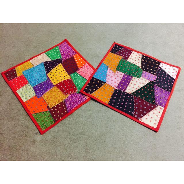 Multi Coloured Patchwork Star Threadwork Cushion Cover