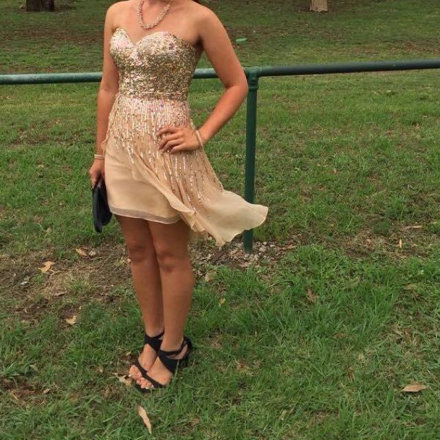 Sherri Hill Formal/prom Dress US Size 2 Gold Sequin