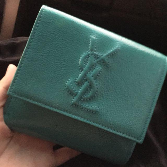 YSL 藍綠色皮夾