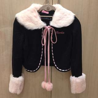 Gorgeous Barbie Coat With Baby Pink Rabbit Fur