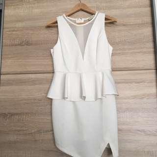 White Peplum Dress