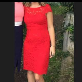 REVIEW Size 8 Red Lace Dress!