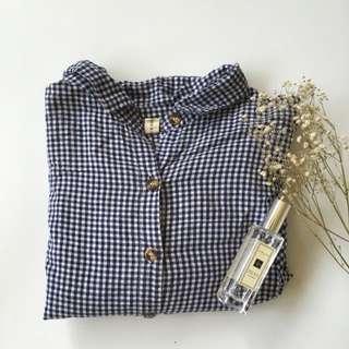 二手/藍白小格紋蝙蝠袖襯衫