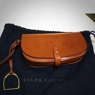 Reduced!!!!!! Ralph Lauren Leather Saddle Wristlet Bag