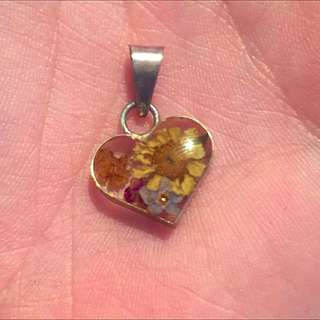 Pressed Flower Silver Necklace Charm