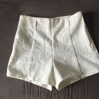 White Print High-wasted Shorts