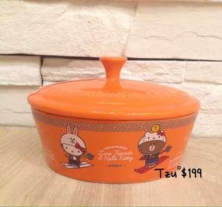 Hello Kitty & Line 陶瓷大烤皿 熊大頭型 韓國款,全新商品。