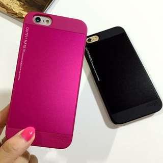 金屬限量不留指紋消光黑/粉 iphone6Plus手機殼