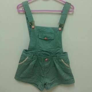 🚚 綠色鬆緊吊帶褲