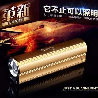 多功能LED強光手電筒點煙器USB移動電源強光手電筒