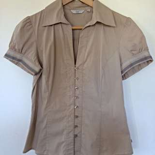 Cue Taupe Cap Sleeve Shirt