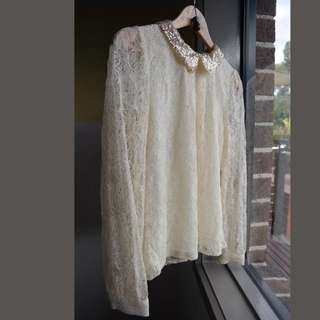 Jovonnista Lace Blouse With Sequin Collar Size 8 ASOS