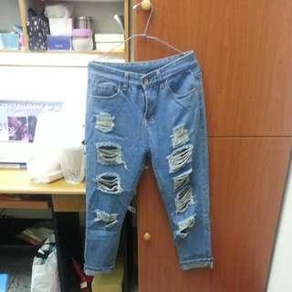 全新 牛仔破褲