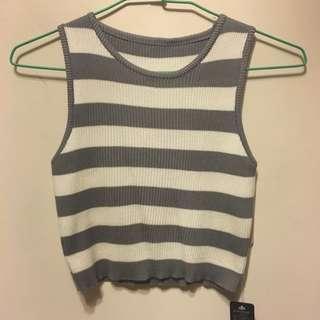全新灰白色條紋針織短版背心