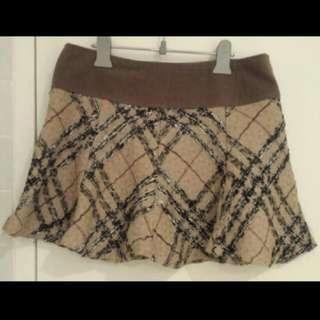 Light Brown Patterned A-line Skirt Size 8