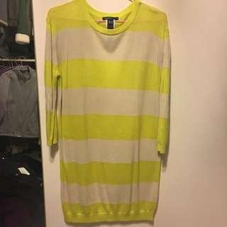 MANGO黃色條紋針織長版衫