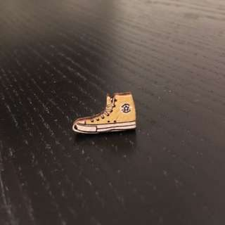 Tiny wooden Converse post earrings