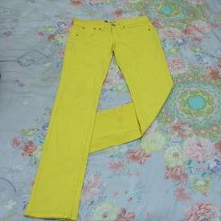 全新/亮黃色牛仔褲 M碼