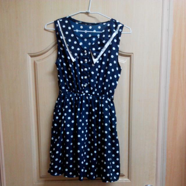 (轉售全新)深藍水玉點點縮腰洋裝#衣櫃炸了救我