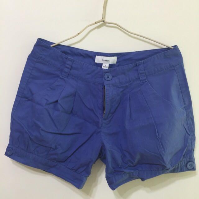藍色中腰短褲