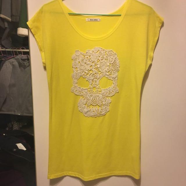 黃色蕾絲骷髏頭長版棉質上衣
