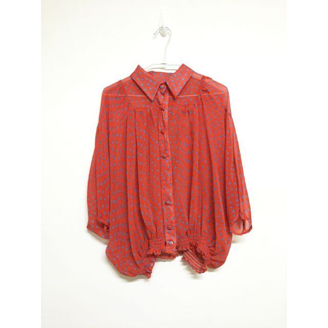 橘紅藍點復古襯衫