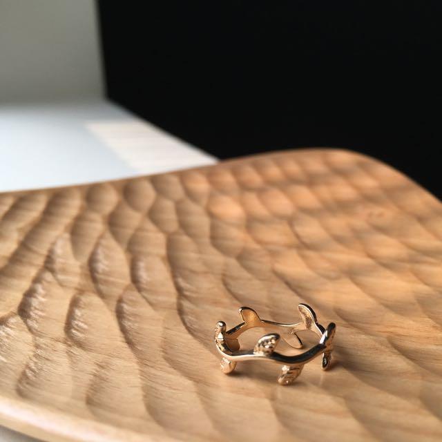 全新好質感秀氣小樹葉(尾)戒指 | 金14mm