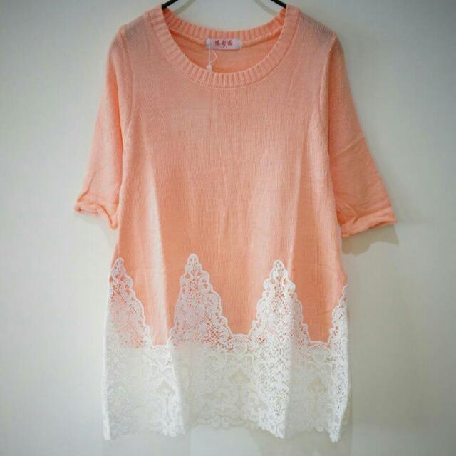 全新大降價-蕾絲粉橘上衣