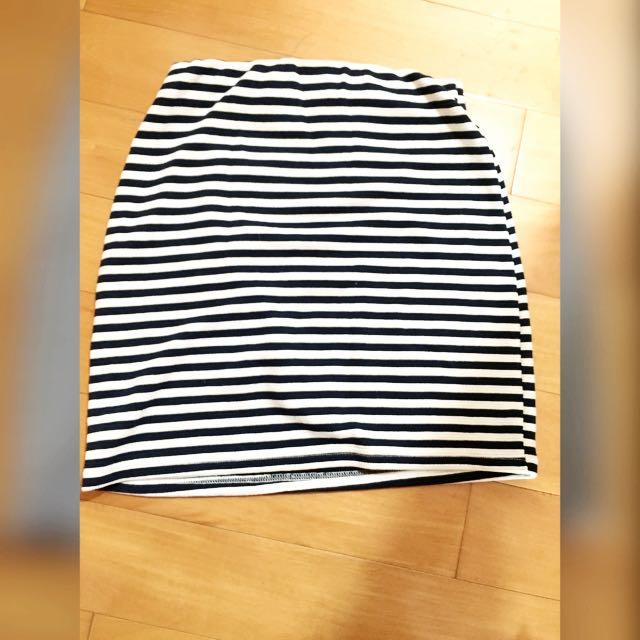彈性包臀短裙 條紋
