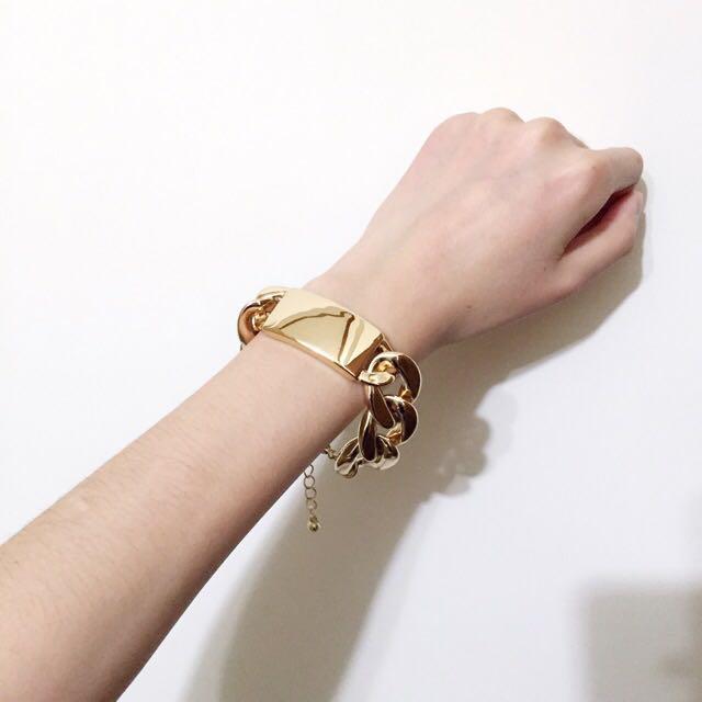含運/全新 Forever 21 金色鎖鏈手環