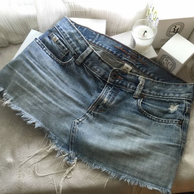 Abercrombie and Fitch AF A&F刷色顯瘦牛仔短裙