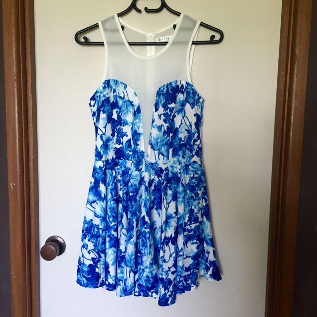 Blue Floral Size 6 Playsuit