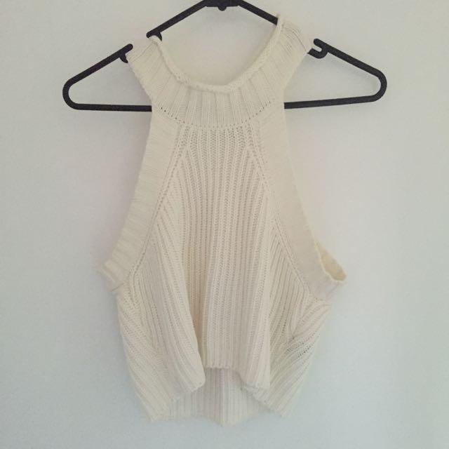 Cream Knit Crop