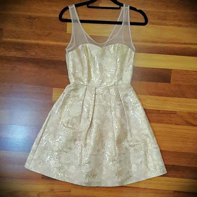 Forever New Pink And Gold Lace Dress