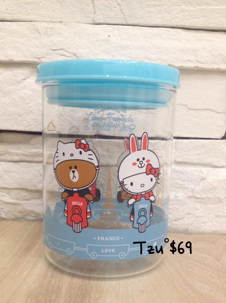 Hello Kitty & Line 耐熱玻璃瓶 暢遊法國西班牙款,全新商品。