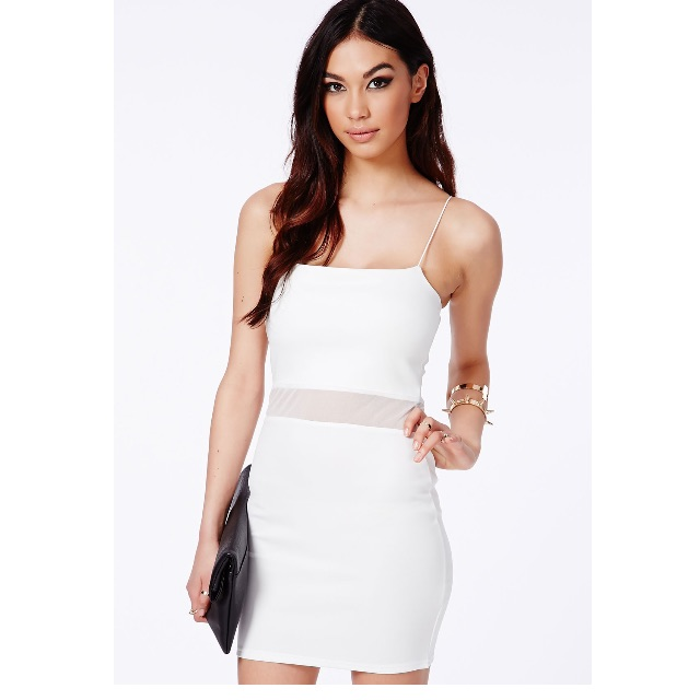 Misguided White Mesh Panel Dress