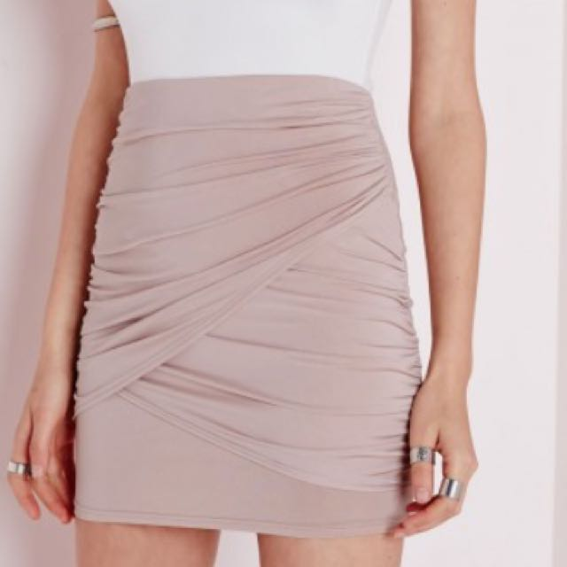 Miss Guided Beige Mini Skirt